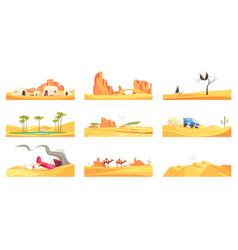 Desert scenery compositions set vector