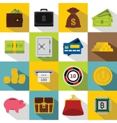 Different money icons set flat style vector