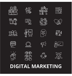 digital marketing editable line icons set vector image