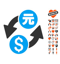Dollar yuan exchange icon with lovely bonus vector