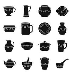 Earthenware and ceramic black icon set vector