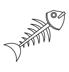 Fish skeleton icon outline style vector image