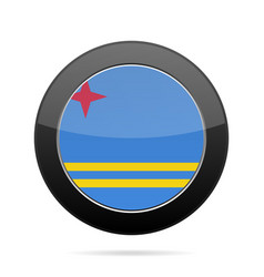 Flag of aruba shiny black round button vector