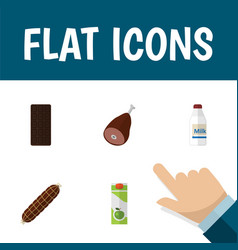flat icon eating set of smoked sausage bottle vector image