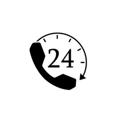 Full time call services solid icon vector