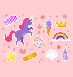 Funny fashion stickers kit vector