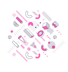 geometric pink and lineart shapes trendy graphic vector image
