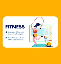gym fitness internet blog flat banner template vector image