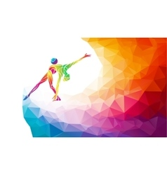Gymnastics girl with ball in trendy abstract vector