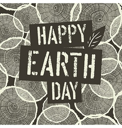 Happy Earth Day Logotype on Tree Rings Seamless vector