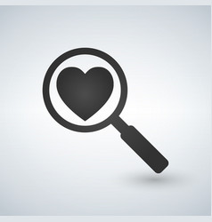 heart search icon on white background vector image