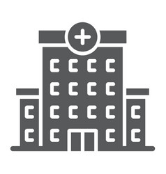 Hospital glyph icon architecture and building vector