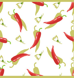 Hot cayenne pepper chile and flowers seamless vector