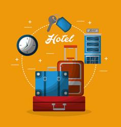 hotel building suitcases clock key service vector image