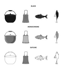 Isolated object of fish and fishing icon set of vector