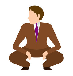 Isolated squatting businessman vector