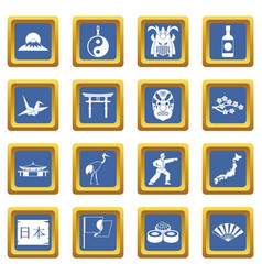 Japan icons set blue vector