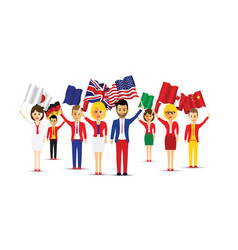 Large group of flag waving people vector