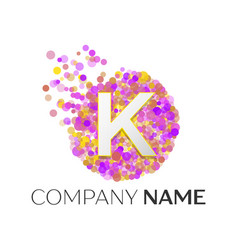 letter k logo with purle particles and bubble dots vector image