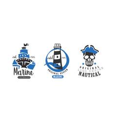 marine legendary original logo design templates vector image
