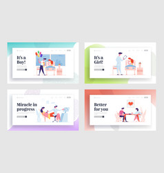 maternity baby delivery landing page template set vector image