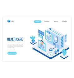 Medicine and healthcare isometric landing page vector