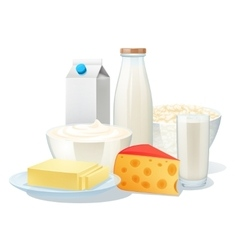 Milk Products Set vector image