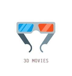 Modern 3D cinema glasses flat design vector image