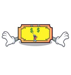 money eye ticket mascot cartoon style vector image