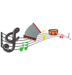 Musical instruments with music notes in background vector