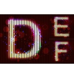 Neon Light Alphabet - DEF vector image