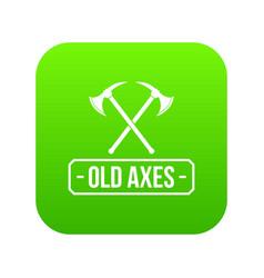 old axe icon green vector image