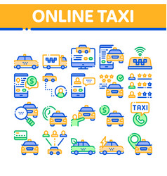online taxi collection elements icons set vector image