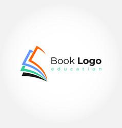 open book logo education flat design vector image