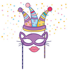 Party hat with cat mask and mouth costume vector