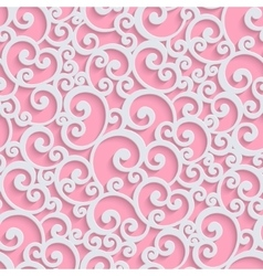 pink 3d floral damask seamless pattern vector image