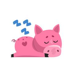 Pink funny cartoon pig sleeping cute little piggy vector