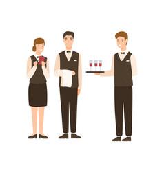 Positive cartoon people hotel staff standing vector