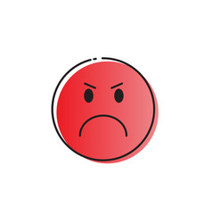 red cartoon face angry people emotion icon vector image