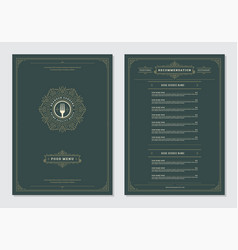 restaurant menu design and label brochure vector image