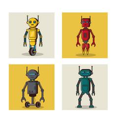 Robot square icons cartoon vector