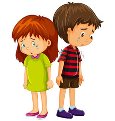 Sad boy and girl crying vector
