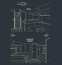 sailing yacht interior sketches vector image