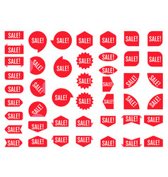 sale sticker set red promotion labels modern flat vector image