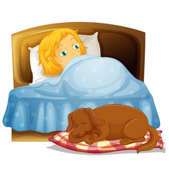 Scene with little girl sleeping in bed with pet vector