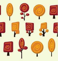 Seamless patern with funny trees vector