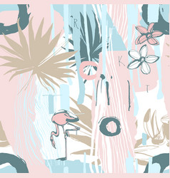 seamless pattern ink hand drawn tropical palm vector image