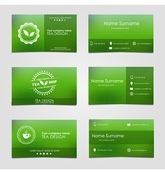 set business cards for tea vector image