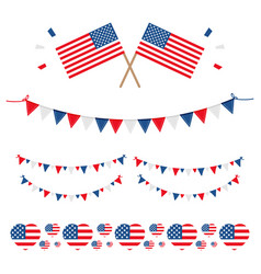 Set collection of american usa flags and ribbons vector