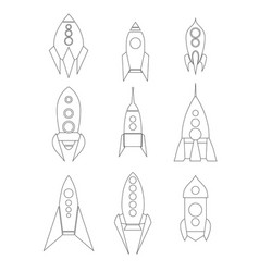 set outline spacecraft icons linear drawing of vector image